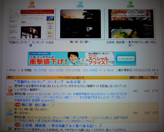 ブログランキング3位(20101123)