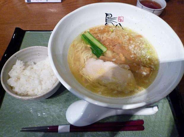 『鳥八(とりや)』 鶏塩支那そば(ランチ・ライス付、780円)