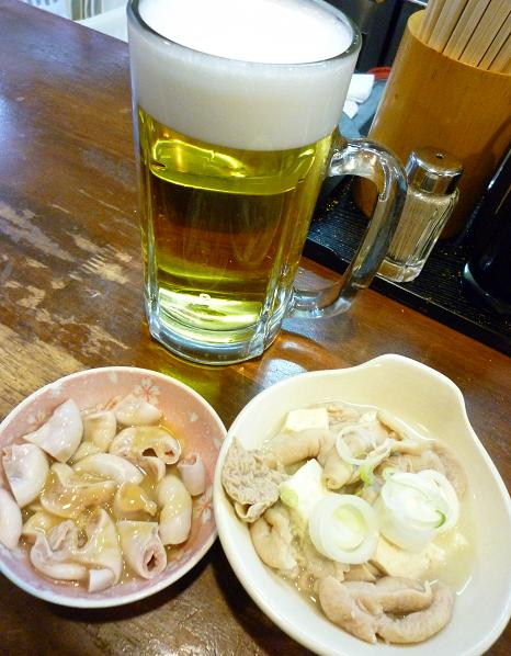 『立飲み たきおか』 生ビール(390円)とアテ