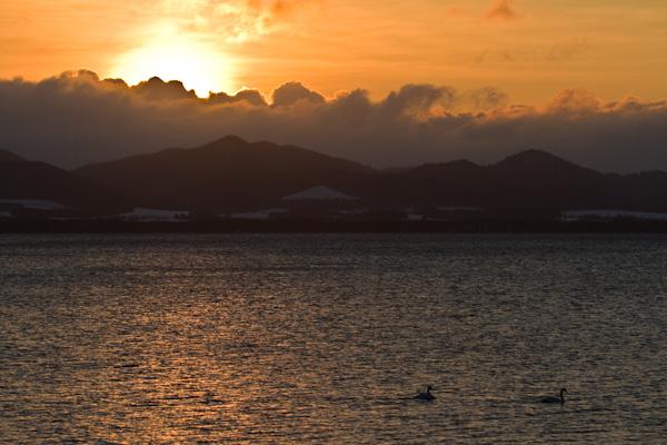 今年最後の落日 サロマ湖
