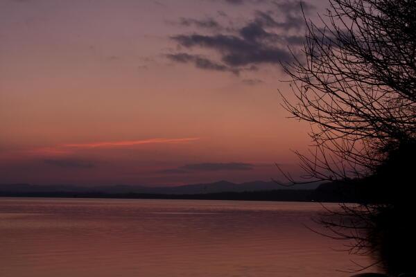 網走湖夕景 R238沿い