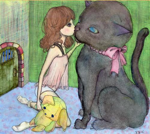 黒猫×少女