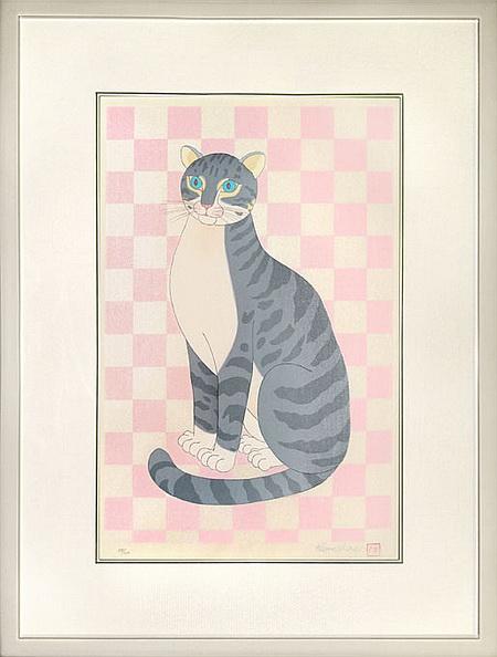 河嶋淳司 「猫」 木版画