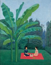 長谷川《芭蕉の庭》 1947年 おかざき世界子ども美術博物館 196x247
