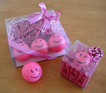 ピンクのニコちゃんゴルフボール