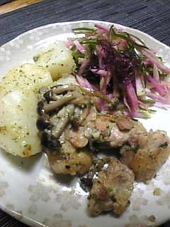 鶏と山芋のパセリガーリックバター