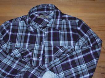 紫チェックシャツ