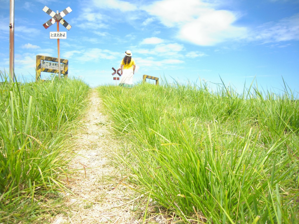 2010/8/8 第2五之町踏切にて(モデル:新田のん)