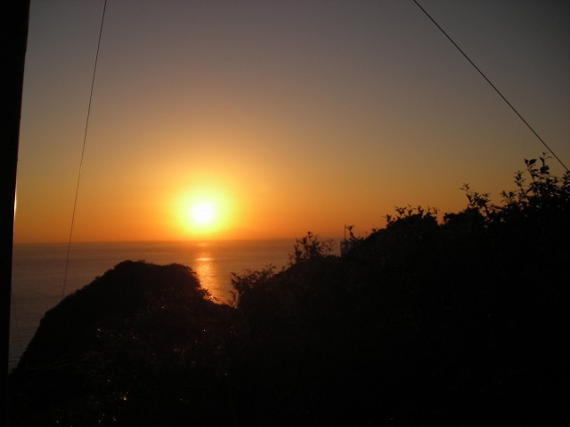 鋸山の夕日