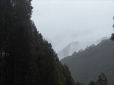 山の中の現場へ。