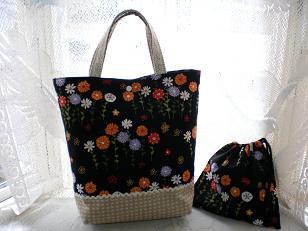 花柄トートバッグ&小袋♪