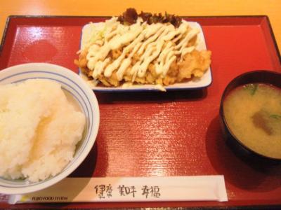 梅ヶ枝食堂ごはん137円、みそ汁84円、チキン南蛮263円