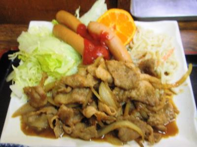 のみ処点20100218日替り豚生姜焼とウインナー