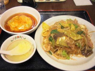 王将難波西店皿うどん525円ミニ天津飯294円