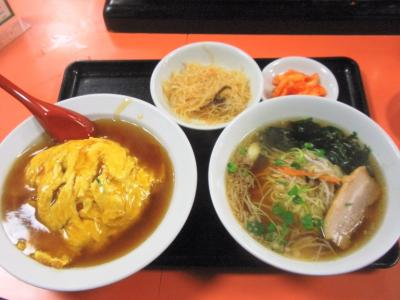 心斎橋店日替丼定食800円天津飯とラーメン