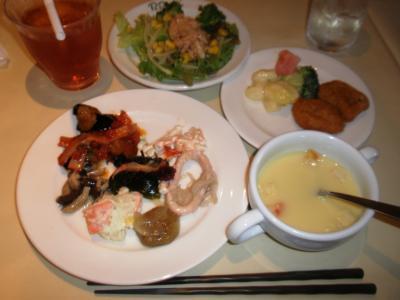 パパミラノ大阪マルビル店バイキング前菜、サラダ、スープ