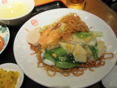 蓬莱新川店551ランチ海鮮焼そばにカラシ