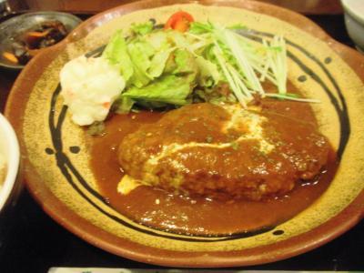 サンシーロハンバーグ定食680円2回目ハンバーグ