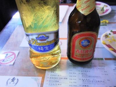 査餐廳で三徳利麦酒、青島麦酒