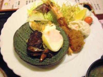 四季洋食御膳ハンバーグ、カキフライ、エビフライ