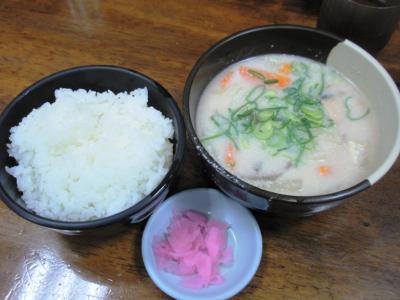 十八番天五店朝食サービスかす汁定食350円(冬限定)