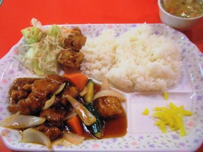 金明飯店20110423日替わり定食550円酢豚
