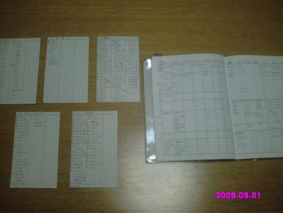 献立ノートと食品在庫カード