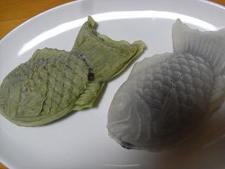 白と緑のたい焼き