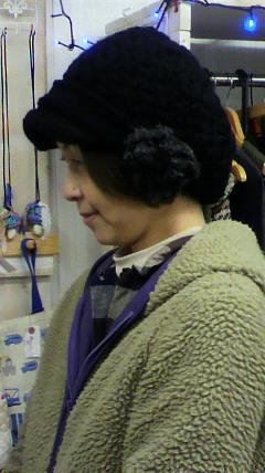 毛糸のキャスケット