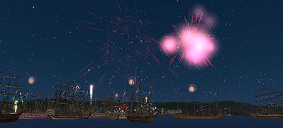 ロンドン沖の花火大会