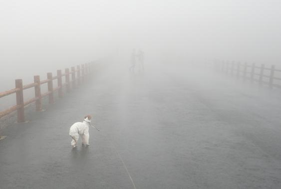 強風+霧雨のダブルパンチ