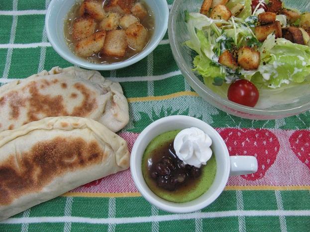 20110627bancahn料理教室、カルツォーネ、手作りクルトン、オニオンスープ、抹茶ムース