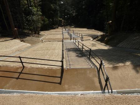 松山城 東雲口登山道から見た修復箇所