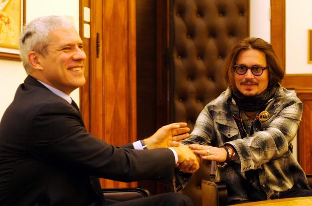 デンゼル・ワシントンとゲイリーオールドマン セルビア、ベオグラード映画祭の為、 ジョニーデップ THE BOOK OF ELI (ザ・ブック・オブ・エリ)