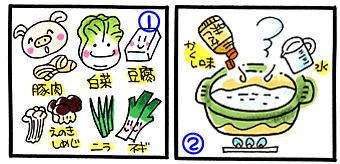 キムチ風お鍋の作り方①と②