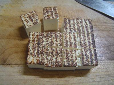 ⑧豆腐を切る