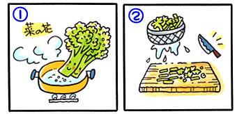 菜の花の混ぜご飯の作り方①と②
