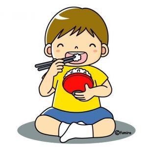 ご飯を食べる子供のイラスト①