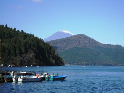 芦ノ湖畔から眺めた富士山の様子