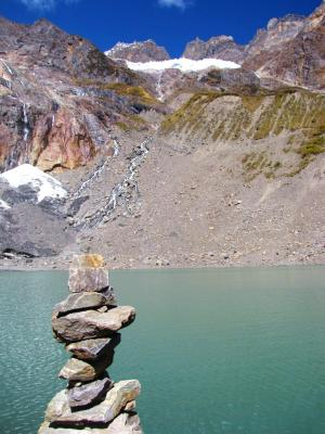 雪山と氷湖②@雨崩