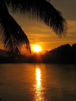 メコンに陽が暮れる@ルアンパバーン