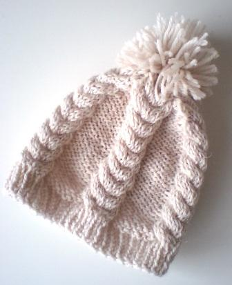 縄編みニット帽♪