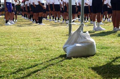 芝生の上で運動会
