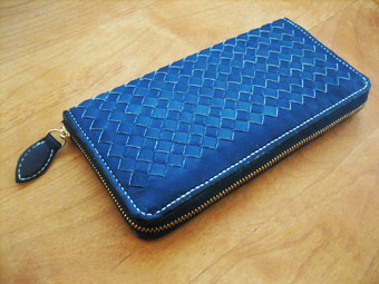 藍染めメッシュの長財布