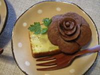 お茶菓子スイートポテト&バラ2