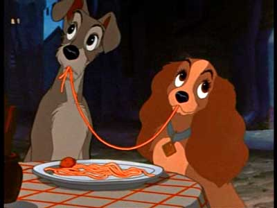lady and tramp eating