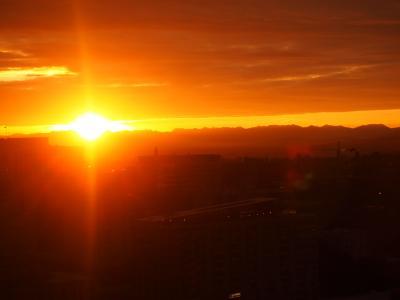 シアトルの朝焼け。