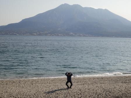 海水浴場からの桜島!