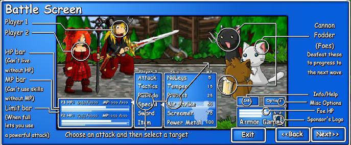 Epic Battle Fantasy 2 Battle Screen