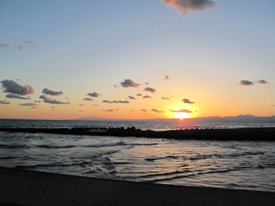 夕暮れ時の海